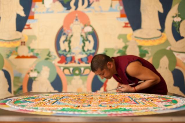 hanging canvas in photos by Tibetan thangka master, Tashi Dhargyal.