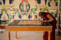 monks-Deprung Loseling Monks | making Medicine Buddha Mandala |Tibetan Gallery & Studio sebastopol, ca